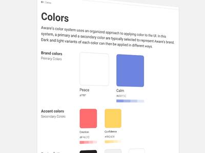 Aware's Proposed color scheme.
