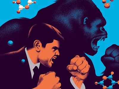 Editorial Illustrations for GQ formula science beasts aggression magazine illustration