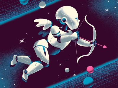 The New Cupid color internet cupid design vintage illustration