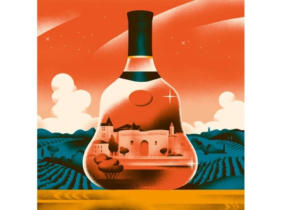History of Cognac landscape bottle cognac history food vintage illustration