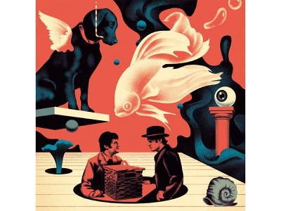 How Your Brain Creates Reality (1) science fish dog reality creative brian design vintage russia illustration