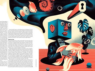 How Your Brain Creates Reality (4) fish reality creative brain vintage magazine russia design illustration