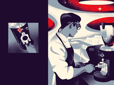 for Standart magazine russia night cafe barista coffee magazine future vintage illustration