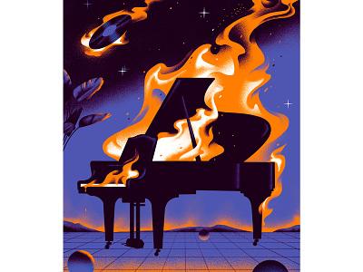 Editorial Illustration for GQ disco vinyl fire music design magazine illustration