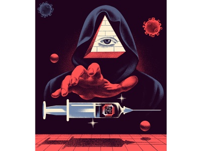 Microchips, vaccines and conspiracy theory covid-19 covid chip conspiracy pandemic medicine future magazine vintage illustration