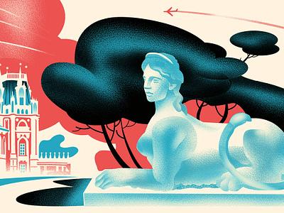 Tsaritsyno Park   «Moscowskie torgi» magazine tree sphinx sculpture park russia illustration