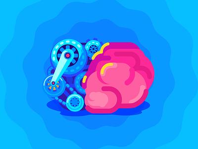 Invention flat vector art brain design illustrator illustration art artist character illustration