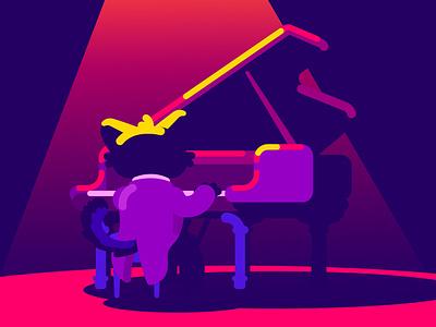 Piano cute art flat design artist illustrator character illustration art illustration classical music piano