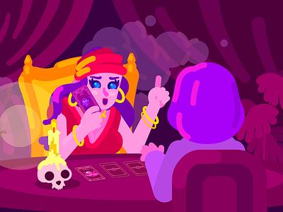 Tarot flat illustrator girl cute art illustration art character artist design illustration tarot card