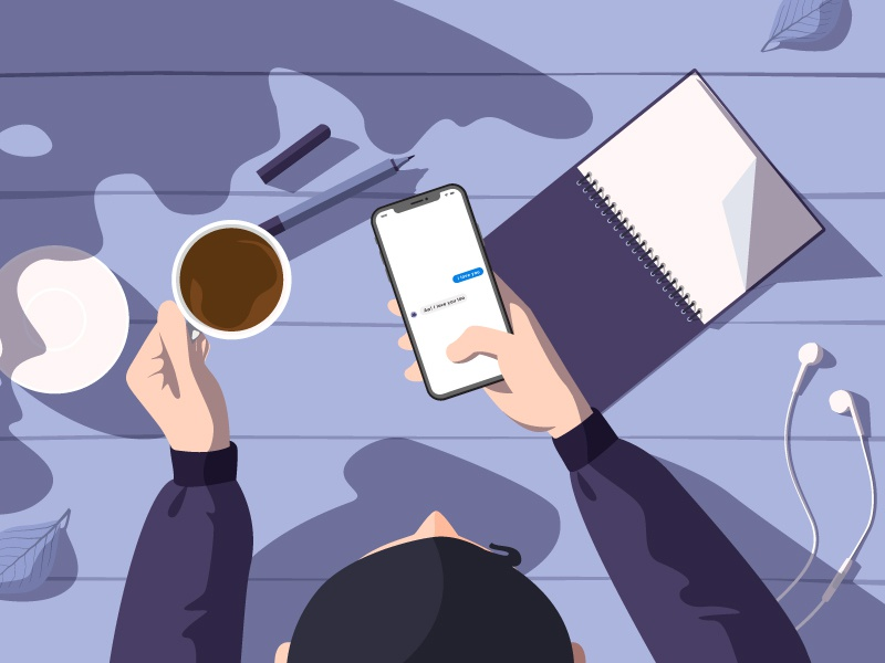 Chatting coffee cup phone flat design illustration chatting