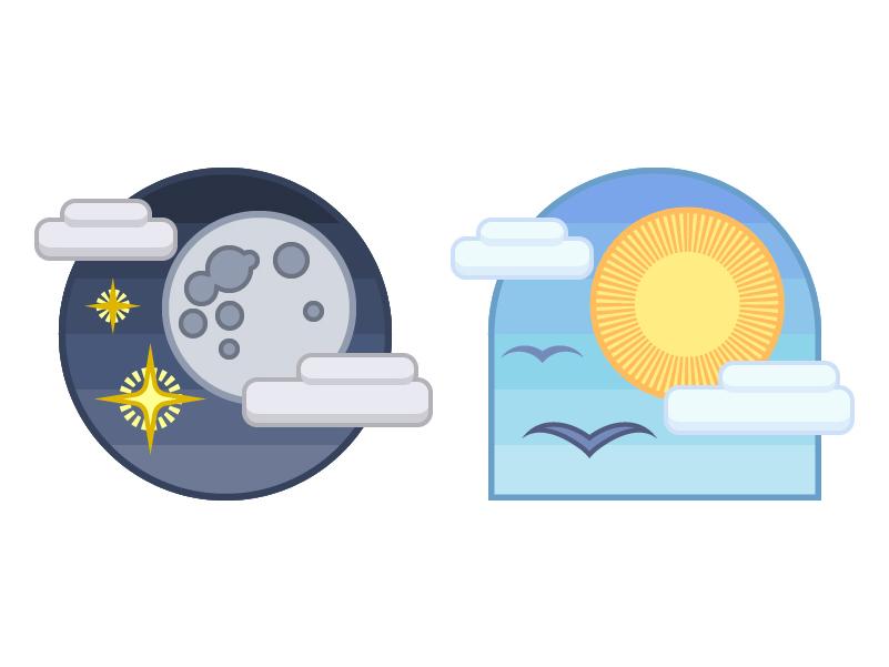 Night And Day Badges branding illustrator logo icon vector design illustration