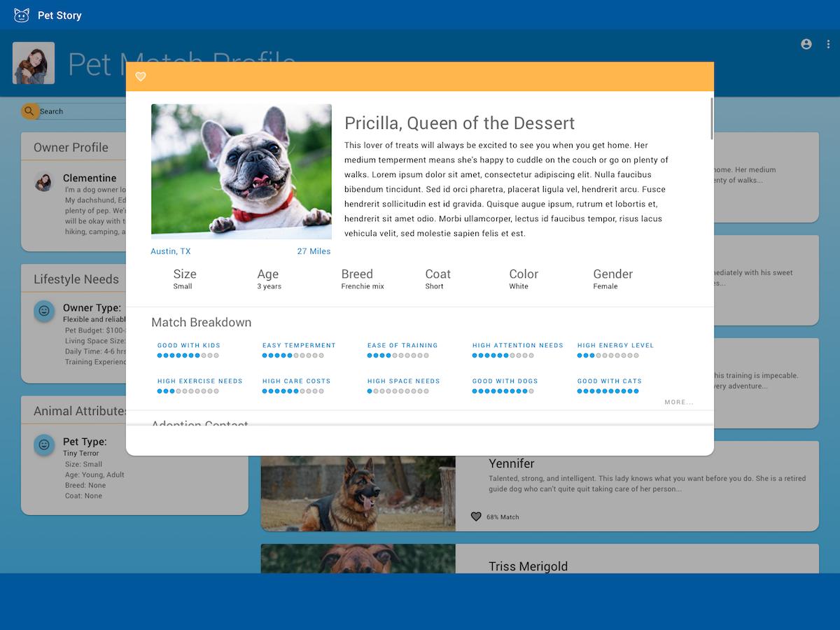 Pet Match Landing Page Match 1 material design 2 sketch ui