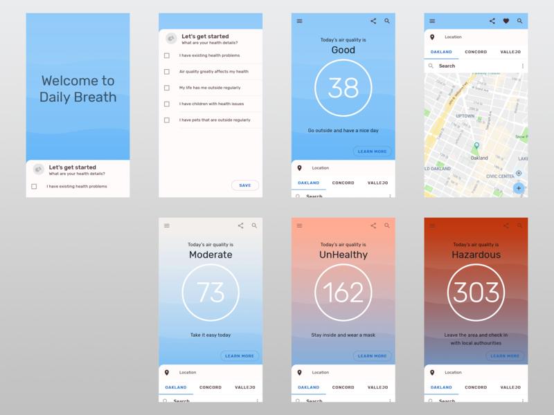 Air Quality Mobile App ui  ux ui mobile app design app health material design 2 sketch design