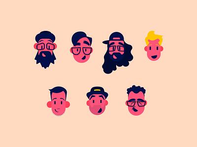 Avatars vector faces face avatar team friends work illustration adobe draw apple pencil illustrator