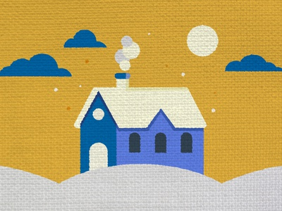 Textured Country Home Illustration WIP