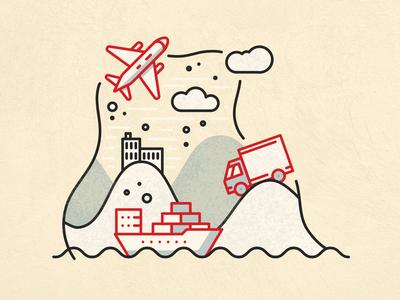 Air Land And Sea Illustration