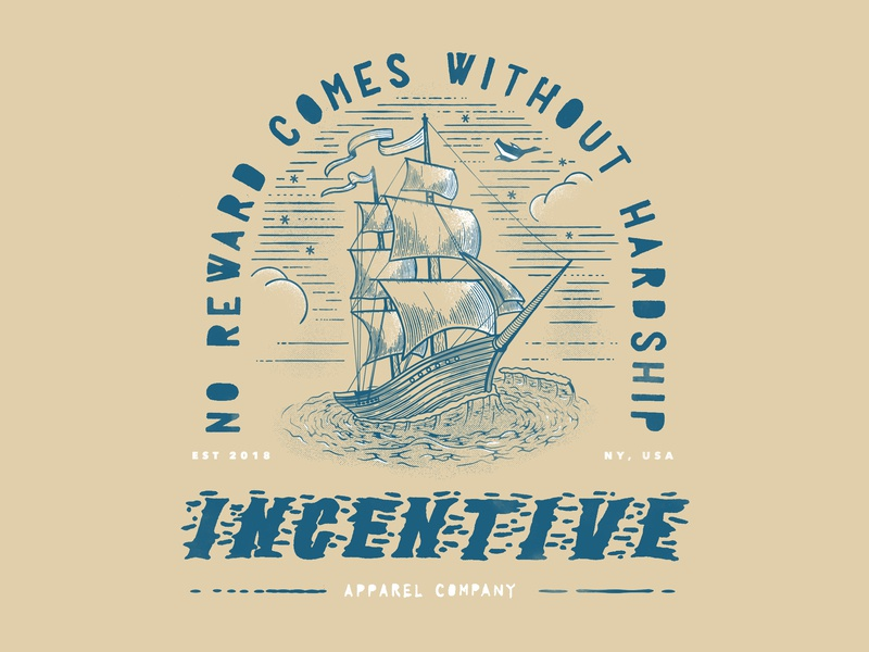 Incentive Apparel Boat Illustration hand drawn textures sails ship motivation branding typography quote tan badge apparel waves vector line illustration boat sail