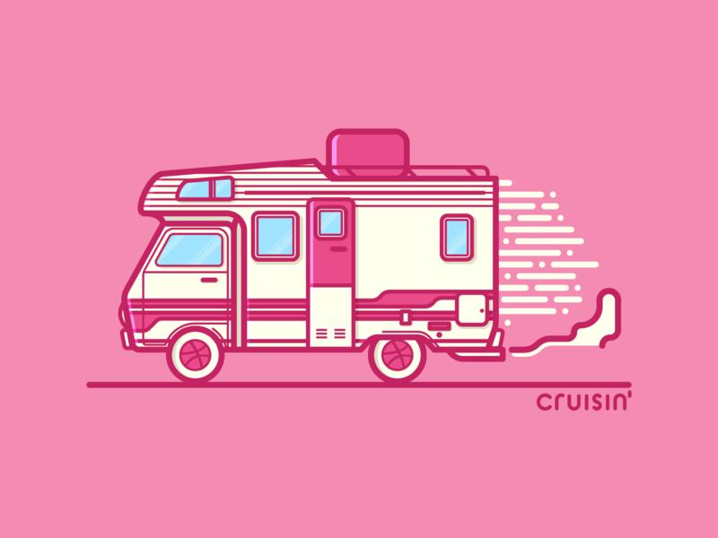 Cruisin' lines vector typography illustrator illustration cruisin rv dribbble debut graphic design