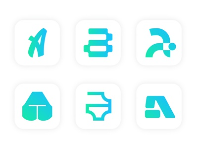 Set of App Icons daily ui daily 100 challenge ui logo 2d typography flat dailyui app icon icon