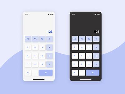 Calculator theme ux mobile dark mode light mode calc calculator 004 daily 004 daily ui challenge daily ui 004 ui design product design design app design daily ui ui