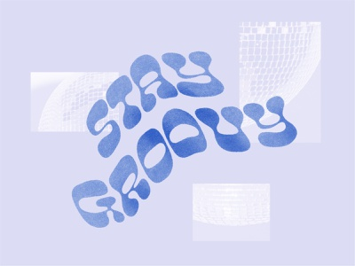 Groovy sparkle movement funky disco ball typeface inspirational blue purple typography disco groovy collage