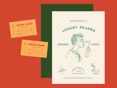 Oscars Invite Design oscars card invite ticket cinema pajamas design invitaion