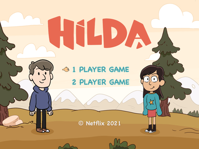 Hilda - Videogame Start Screen series cartoon fanart videogame ui start screen videogame netflix hilda