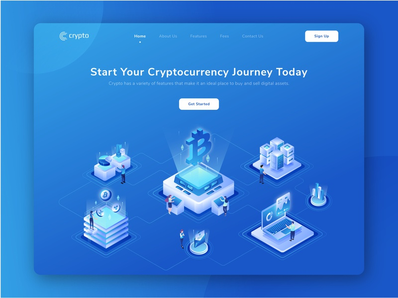 Cryptocurrency Website Design ui website isometric header transaction trade technology payment financial ripple mining investment banking exchange crypto exchange finance bitcoin cryptocurrency crypto web