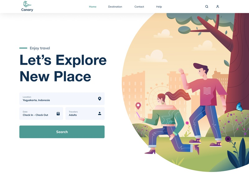 Travel web | Let's explore new place landingpage trip planner clean creative layout gradient design webdesign holiday adventure trip summer ui website vacation tourism journey illustration web travel