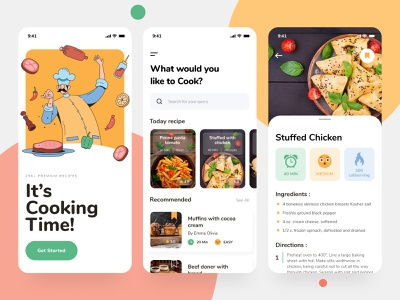 Cooking Recipe App cooking modern ui design clean food app menu illustration recipe app uiux cuisine chef plate culiner meal culinary food kitchen cook ui recipe