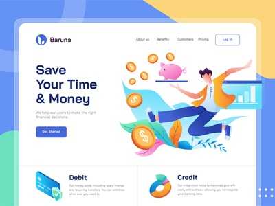 Banking / Fintech Landing Page digital data money marketing management fund business accounting cash economy investment creditcard bank ui finance fintech landingpage homepage payment banking bank
