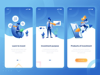 onboarding Investment App payment banking character people usability ui design money interface layout mobile splashscreen app design business financial investment illustration onboarding ui app onboarding