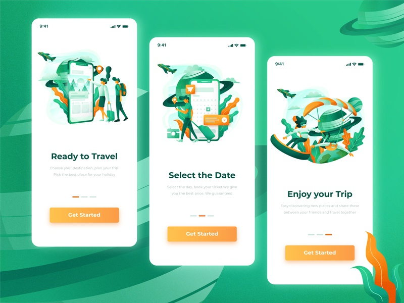 Travel App-Onboarding illustration branding mobile app phone traveler graphic mobile ui explore gradient green grain texture grain journey tourism splashscreen vacation onboarding travel mobile app illustration