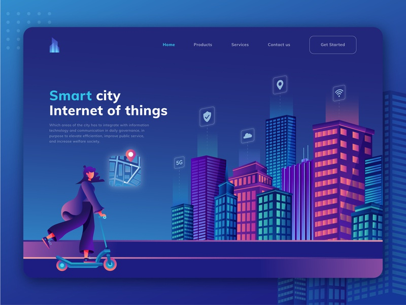 Smart city, Internet of things uiux app modern architecture city illustration development service engineering infrastructure smart connection company perspective isometric internet network website building city technology