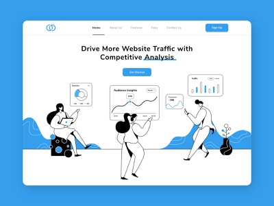 Website traffic statistics ui chart optimization search engine data research teamwork website design illustration statistics insights marketing search seo traffic analytic lineart line header website