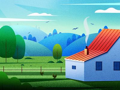 First attempt 鸡 蓝色 绿色 树 房子 插图