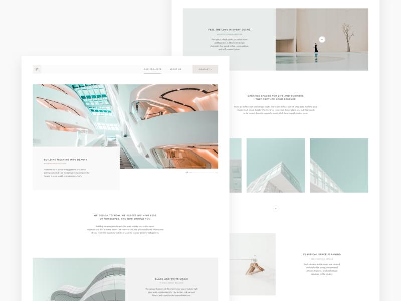 Architecture Site Concept design web minimalist ui delicated white minimal clean concept site landing architecture