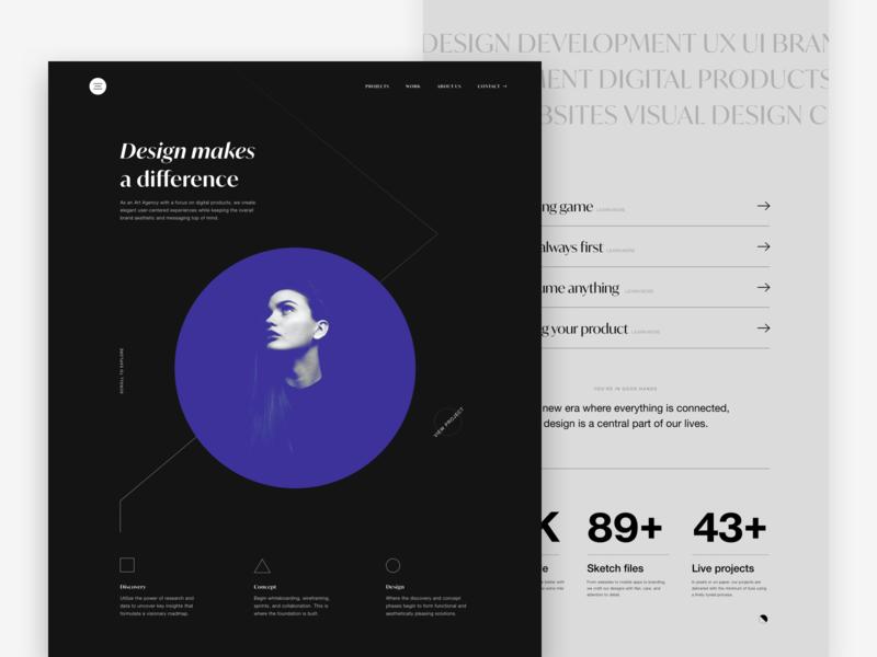 Design Agency Site webdesign concept ux ui website web typogaphy lines editorial interface grid design minimal clean black