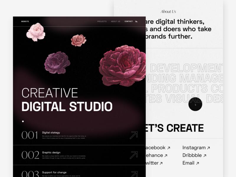 Design Agency Site layout illustration clean typography black concept ui web minimal design