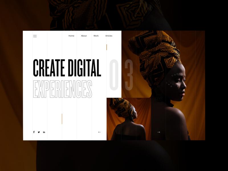 Create Digital Experiences ui blackandwhite landing concept photography minimal web