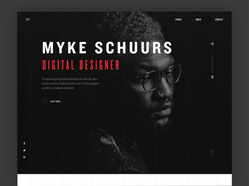 Portfolio Website bold simple black red minimal portfolio ui website web