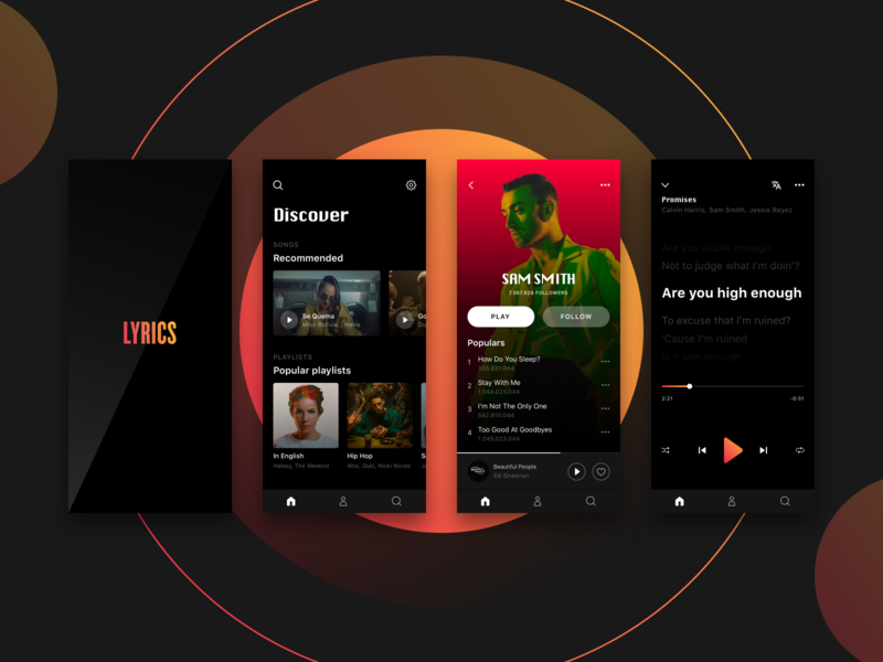 Music App Concept design gradient black modern ui concept music app