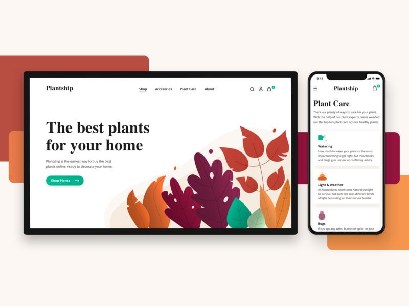 Plantship ui concept web shopping shop design colors gradient noise illustration plants