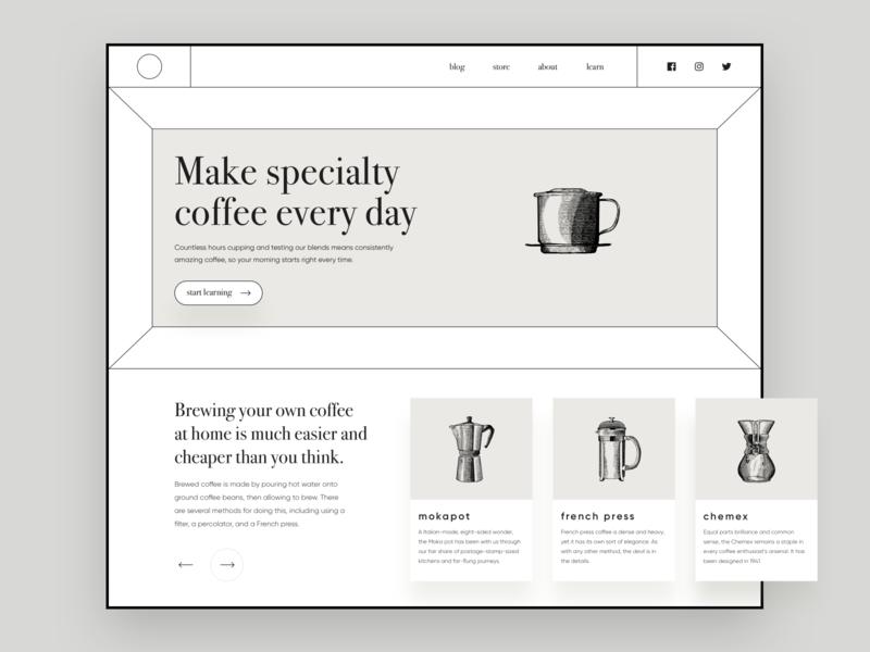 Coffee Site lines illustration minimal web design