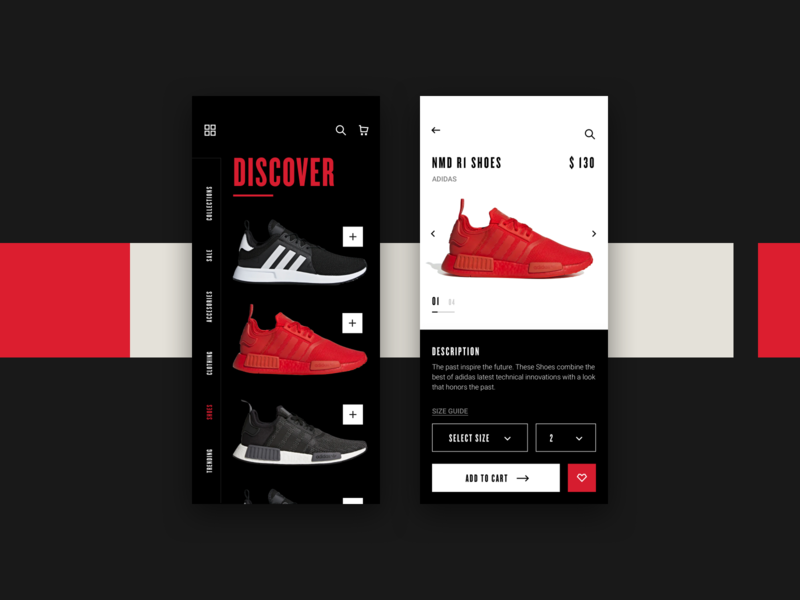 Sneakers Shop white sneakers shoes red product bold black simple clean concept ui minimal design