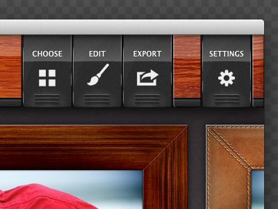 Toolbar reflexion mode wood opacity.app ui analog button selector