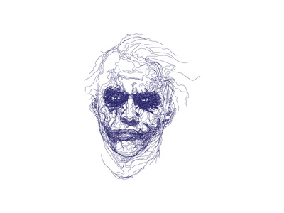 Line Portrait - Joker batman scribbled illustration joker movie line portrait
