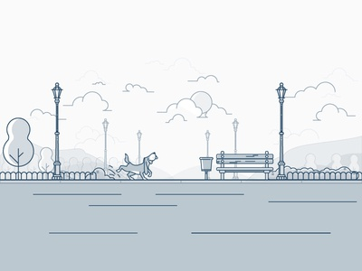 Walk In The Park flat mascot lineart city park outline line illustration dog animal