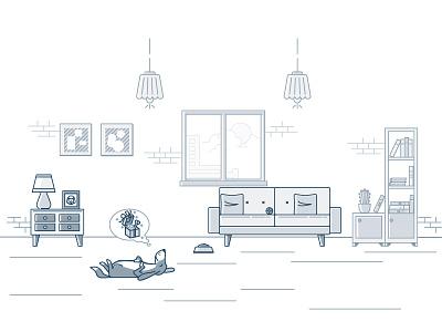 Dog napping home furniture flat mascot lineart sleep gifts outline line illustration dog animal