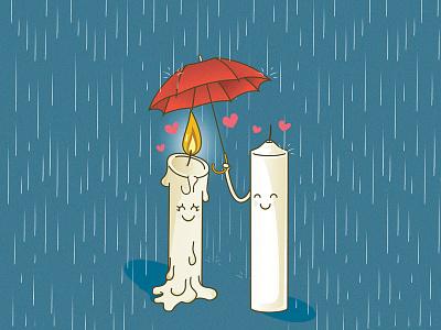 Love Candles san valentin illustred candles umbrella rain love illustration